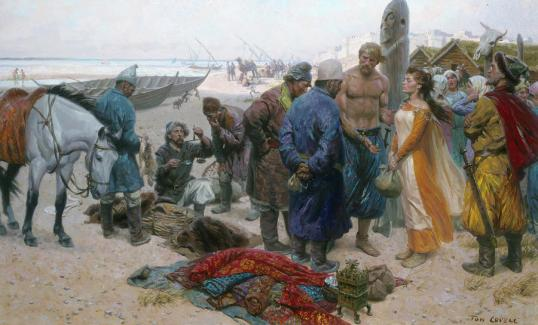 x-a-viking-selling-a-slave-girl-to-a-persian-merchant-tom-lovell