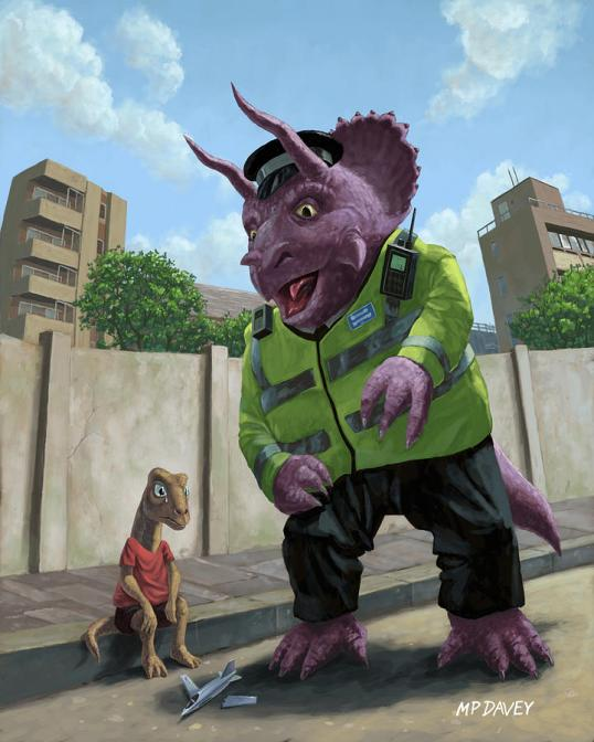 Dinosaur Community Policeman Helping Youngster by Martin Davey