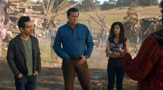 Pablo (Ray Santiago), Ash (Bruce Campbell), and Kelly (Dana DeLorenzo) in Ash vs. Evil Dead