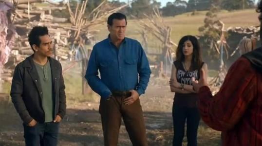 Pablo (Ray Santiago), Ash (Bruce Campbell), and Kelly (Dana DeLorenzo) in Ash vs. Evil Dead