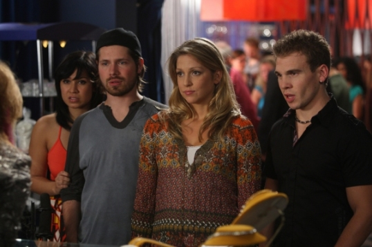 Cassie Steele, Mike Lobel, Miriam McDonald, and Shane Kippel in Degrassi Takes Manhattan